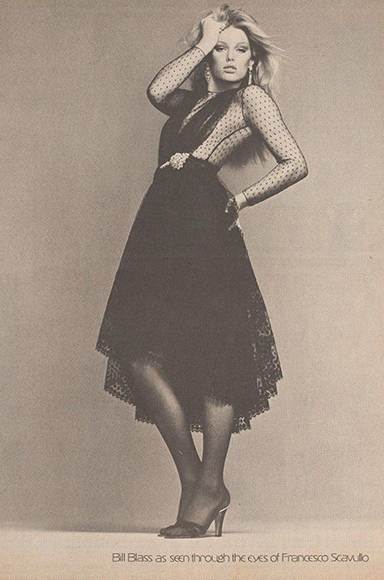 Bill Blass Couture Black Silk Swiss Dot Net Dress, 1978 For Sale 6