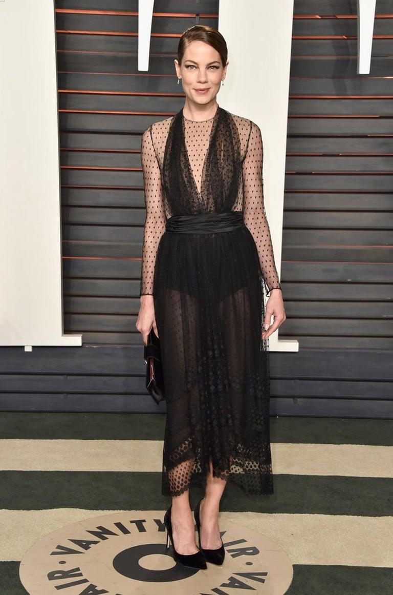 Bill Blass Couture Black Silk Swiss Dot Net Dress, 1978 For Sale 7