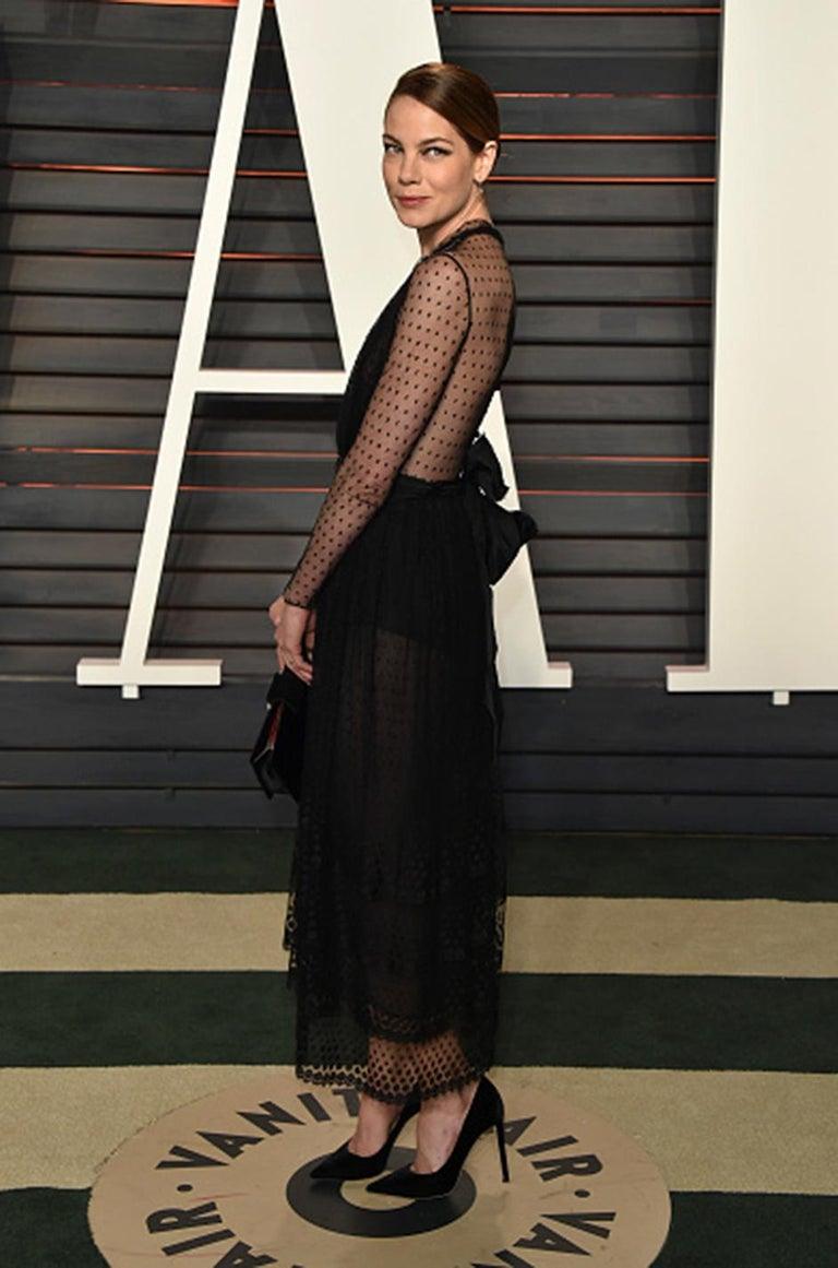 Bill Blass Couture Black Silk Swiss Dot Net Dress, 1978 For Sale 8