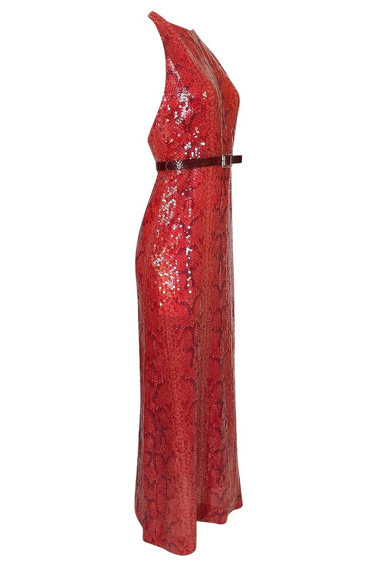 Bill Blass Red Sequin Snakeskin Print Halter Dress, 1974  In Excellent Condition For Sale In Rockwood, ON
