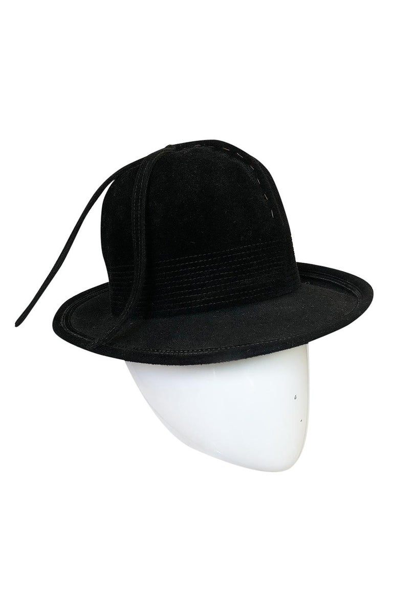 1970s Yves Saint Laurent Black Felt High Bowler Hat In Excellent Condition For Sale In Rockwood, ON