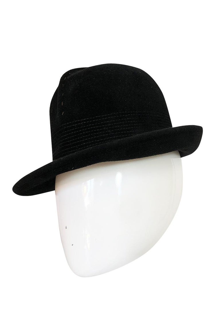 95af2648834 Women's or Men's 1970s Yves Saint Laurent Black Felt High Bowler Hat For  Sale