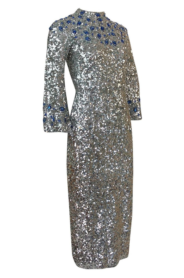 Gray 1950s Gene Shelley Blue Crystal & Silver Sequin Stretch Knit Dress For Sale