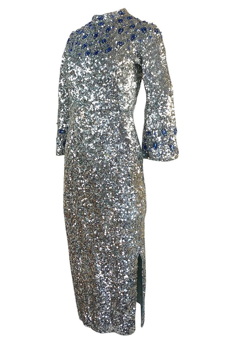 1950s Gene Shelley Blue Crystal & Silver Sequin Stretch Knit Dress In Excellent Condition For Sale In Toronto, ON