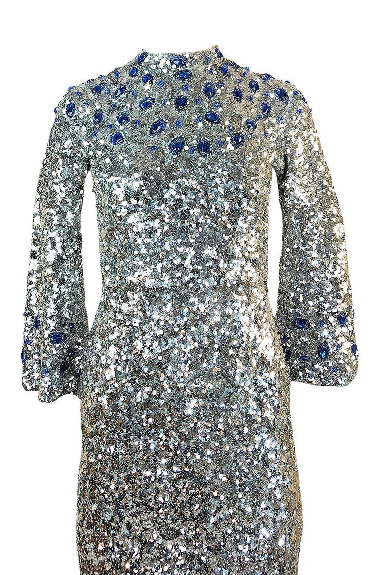 1950s Gene Shelley Blue Crystal & Silver Sequin Stretch Knit Dress For Sale 1