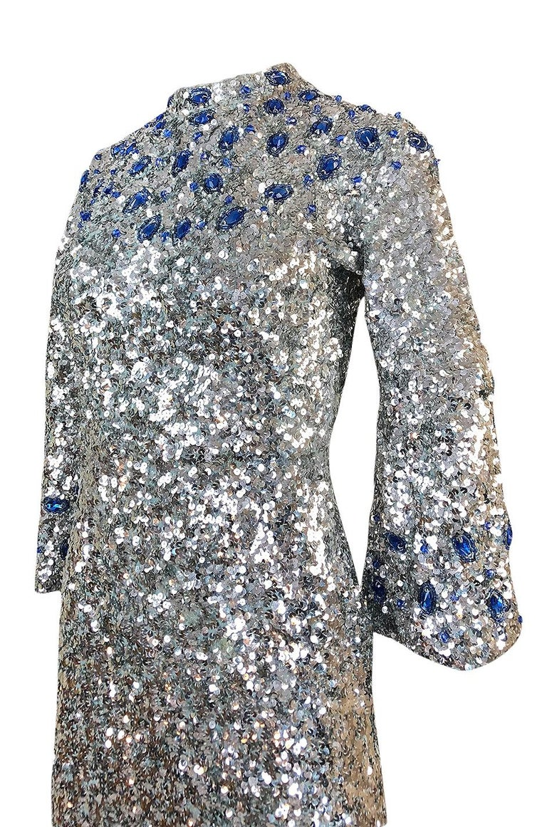 1950s Gene Shelley Blue Crystal & Silver Sequin Stretch Knit Dress For Sale 2