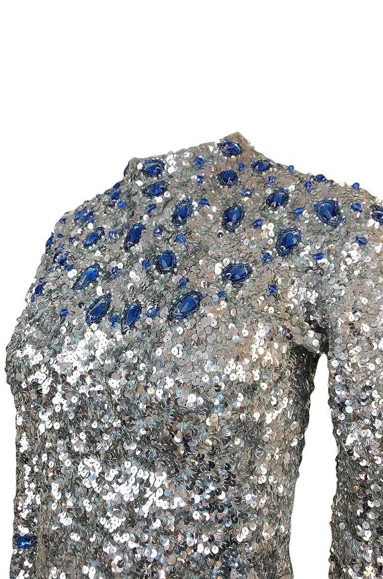 1950s Gene Shelley Blue Crystal & Silver Sequin Stretch Knit Dress For Sale 4
