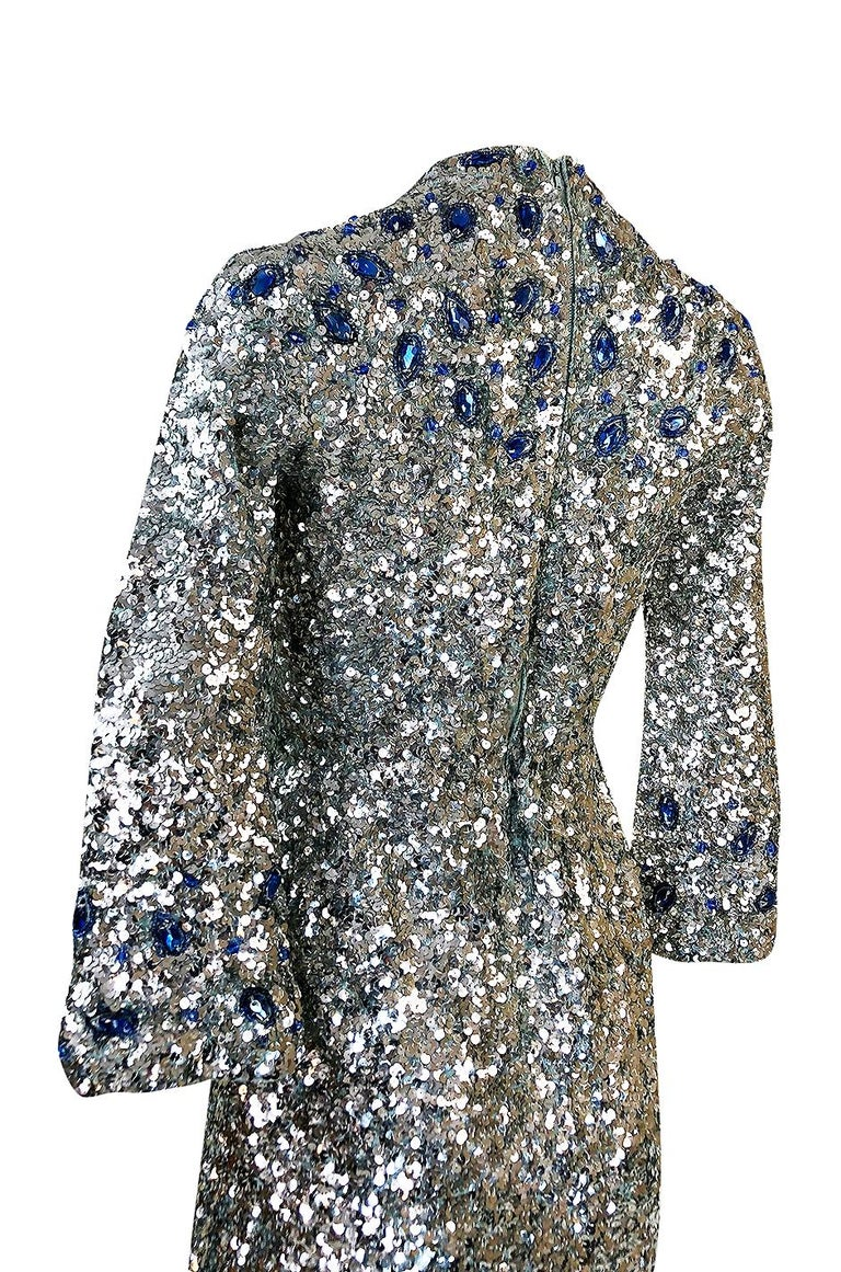 1950s Gene Shelley Blue Crystal & Silver Sequin Stretch Knit Dress For Sale 3