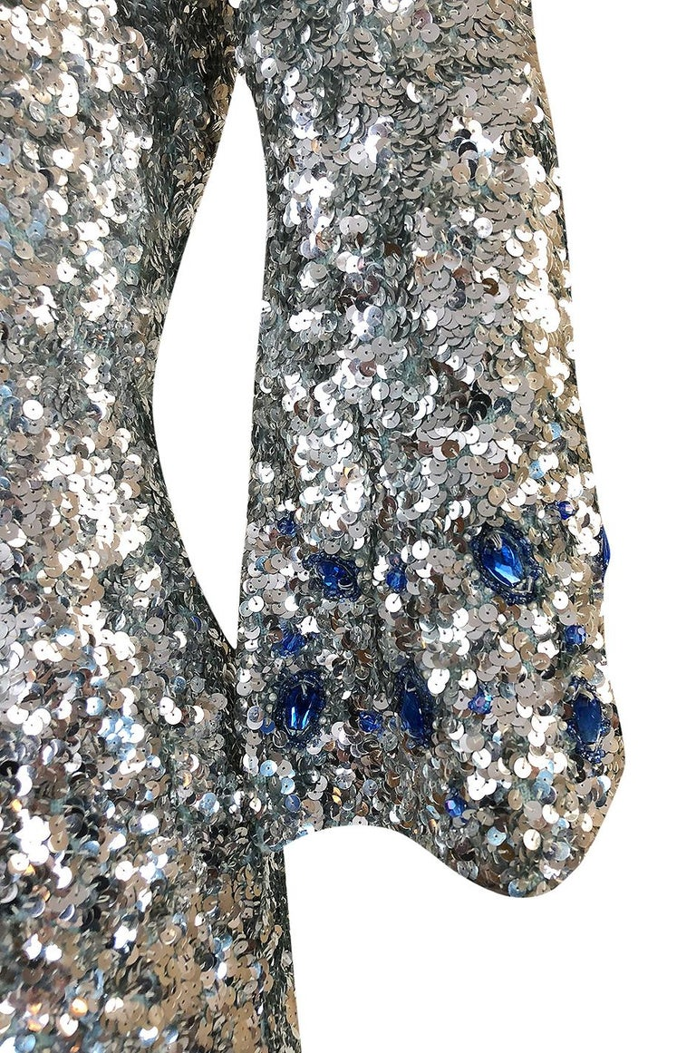 1950s Gene Shelley Blue Crystal & Silver Sequin Stretch Knit Dress For Sale 5