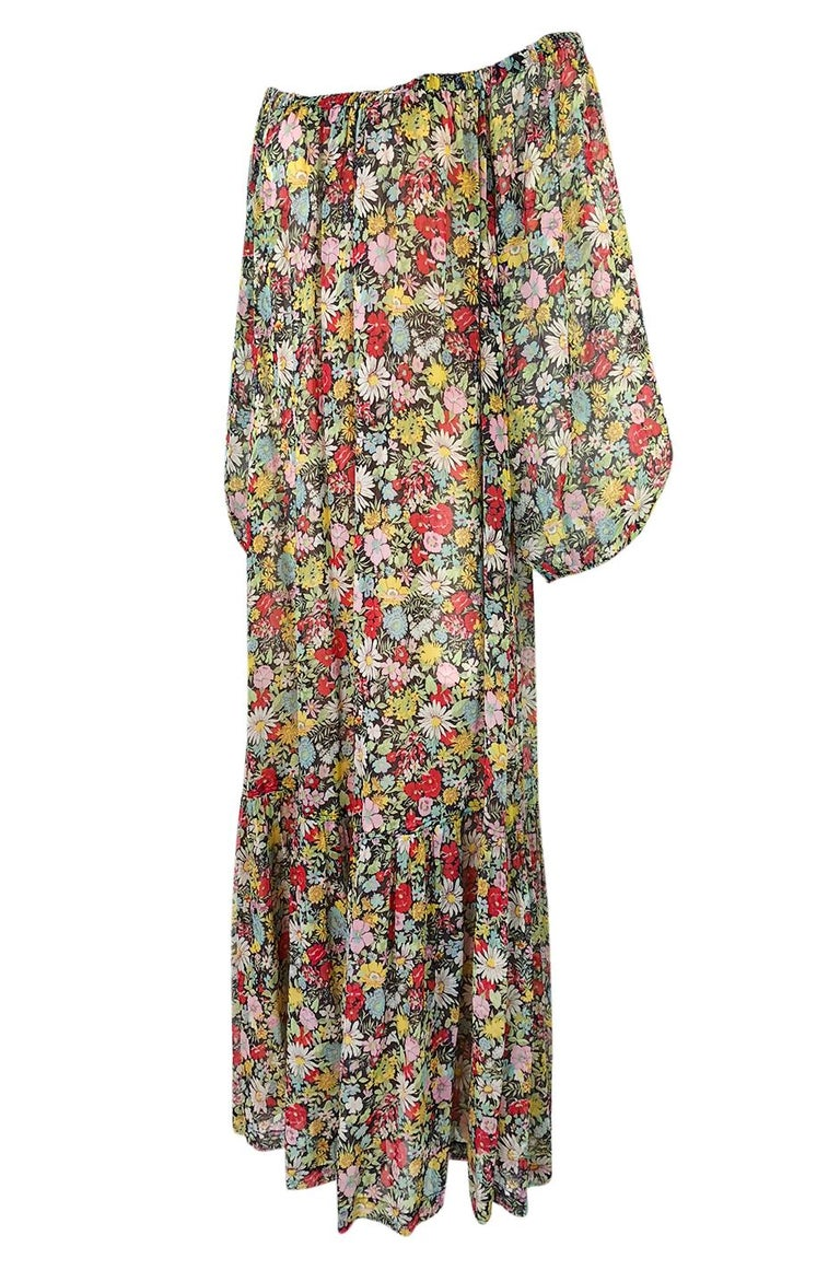 Documented 1975 Yves Saint Laurent Floral Print Off Shoulder Dress In Excellent Condition For Sale In Toronto, ON
