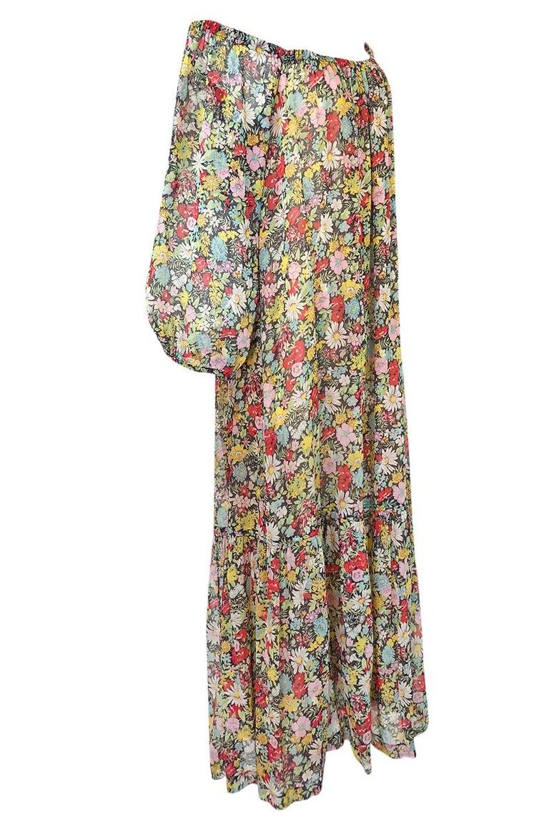 Brown Documented 1975 Yves Saint Laurent Floral Print Off Shoulder Dress For Sale