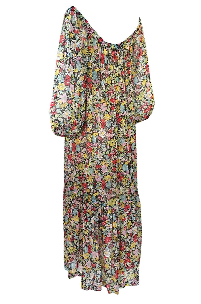 Women's Documented 1975 Yves Saint Laurent Floral Print Off Shoulder Dress For Sale