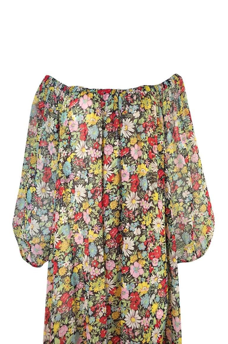Documented 1975 Yves Saint Laurent Floral Print Off Shoulder Dress For Sale 1