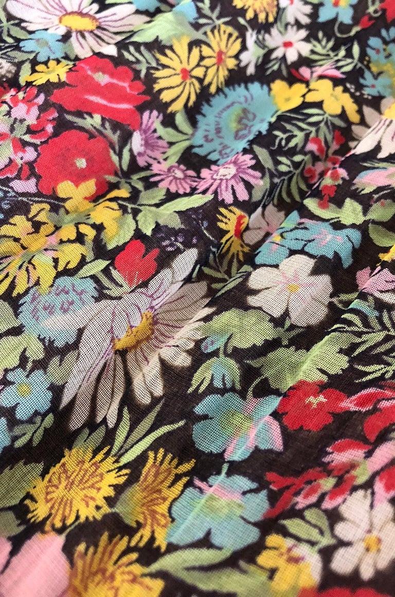 Documented 1975 Yves Saint Laurent Floral Print Off Shoulder Dress For Sale 4