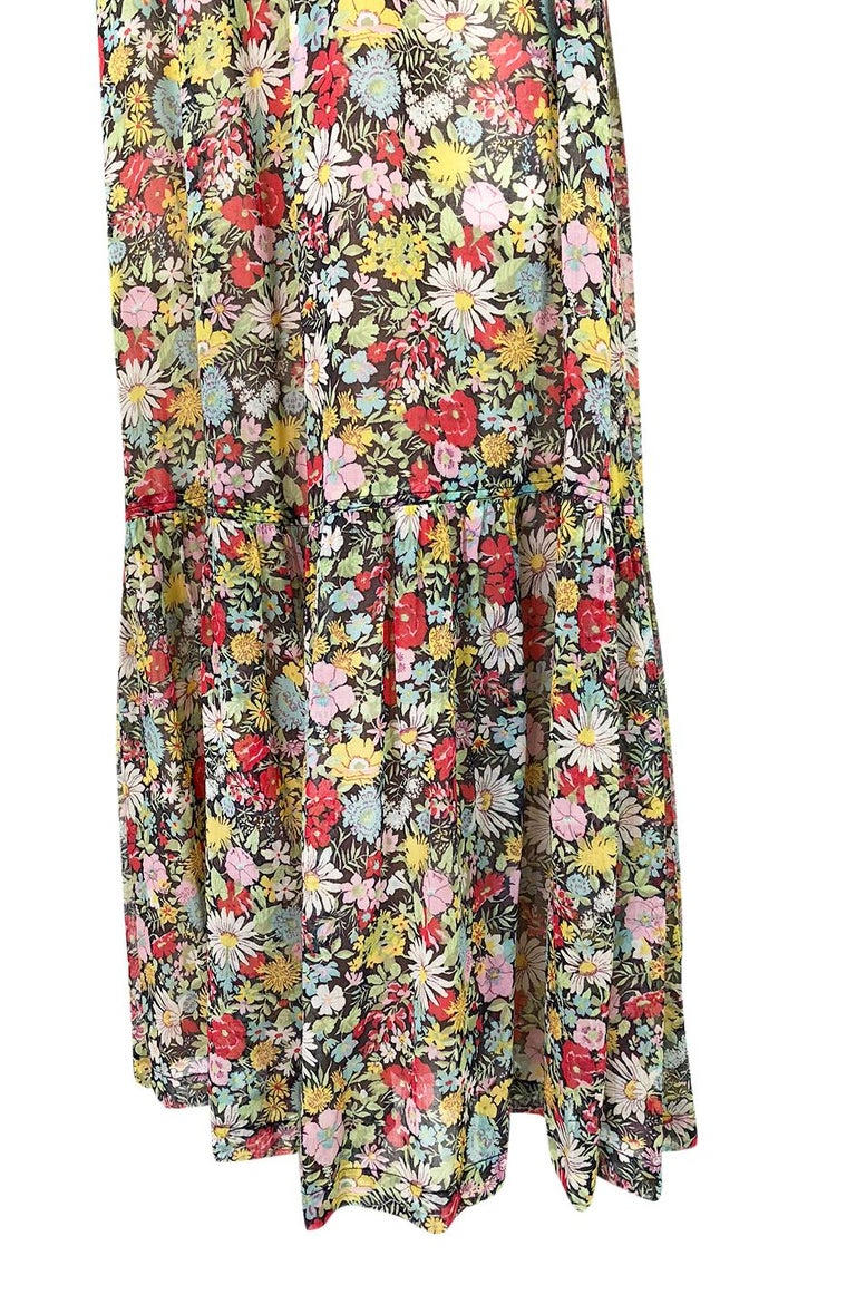 Documented 1975 Yves Saint Laurent Floral Print Off Shoulder Dress For Sale 3