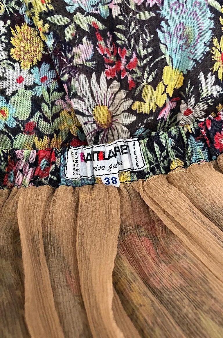 Documented 1975 Yves Saint Laurent Floral Print Off Shoulder Dress For Sale 5