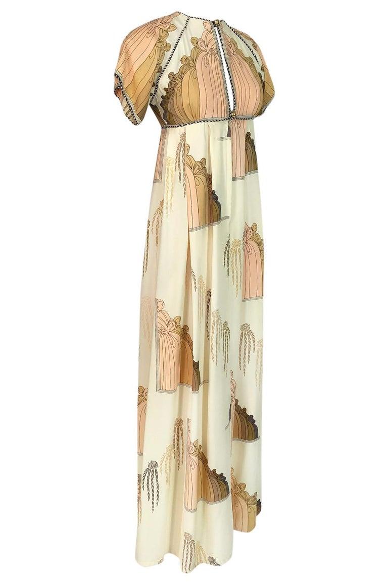 Beige 1960s Jean Varon Slit Front Empire Waist Art Deco Print Dress For Sale
