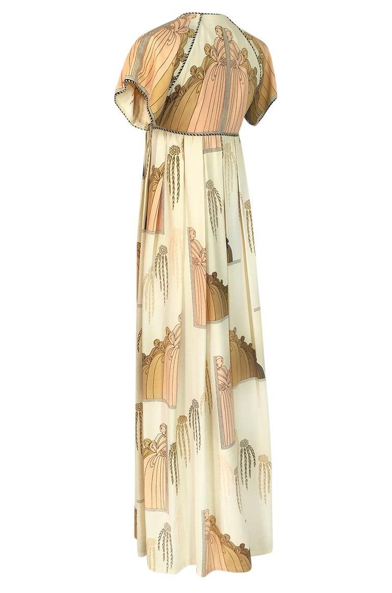 Women's 1960s Jean Varon Slit Front Empire Waist Art Deco Print Dress For Sale