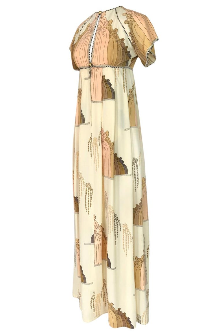 1960s Jean Varon Slit Front Empire Waist Art Deco Print Dress In Excellent Condition For Sale In Toronto, ON