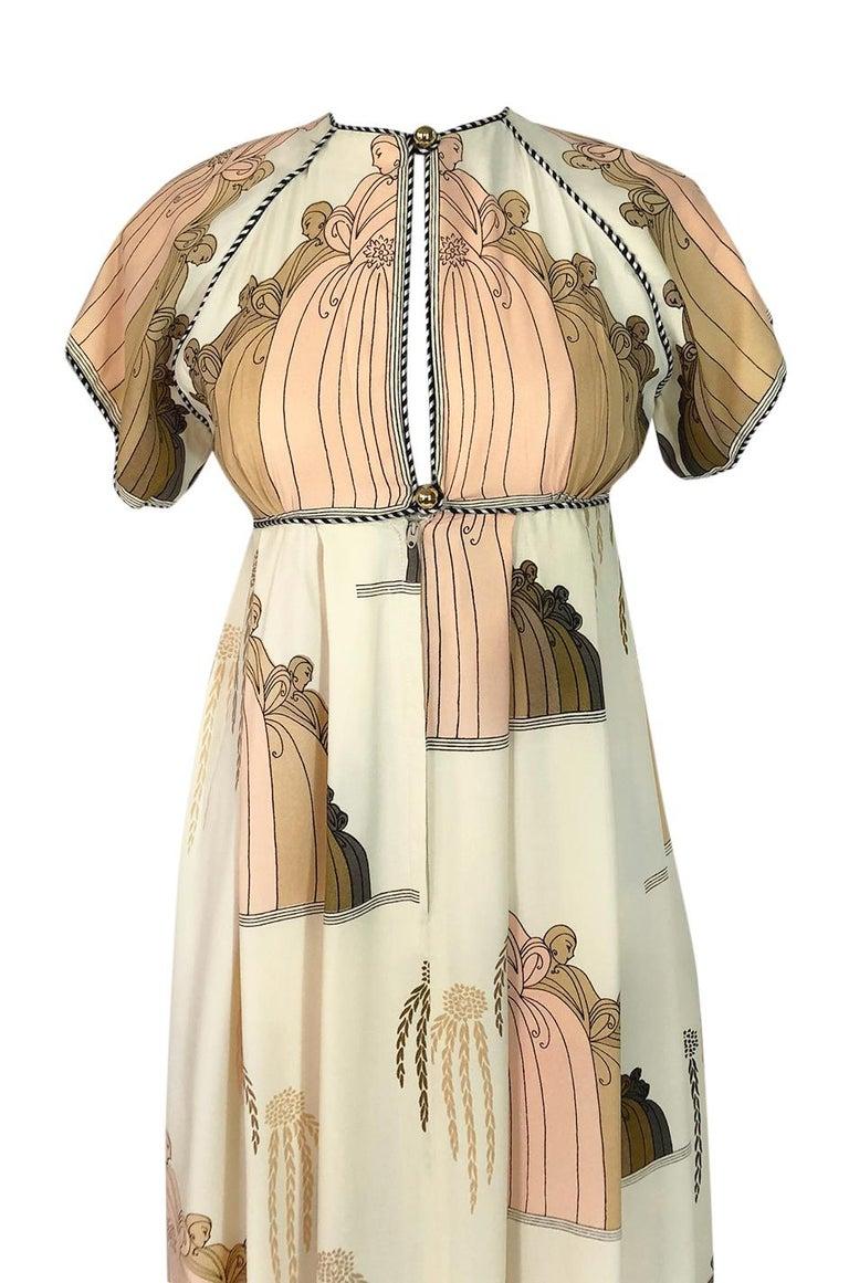 1960s Jean Varon Slit Front Empire Waist Art Deco Print Dress For Sale 1