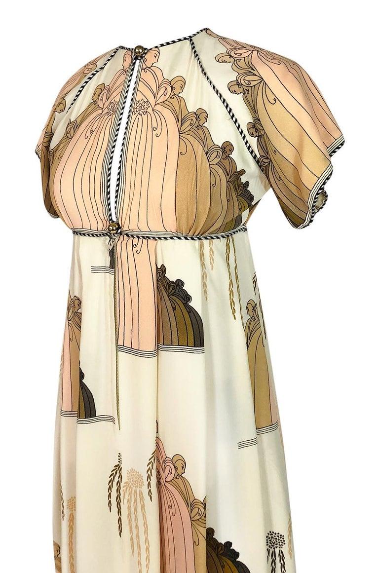 1960s Jean Varon Slit Front Empire Waist Art Deco Print Dress For Sale 2