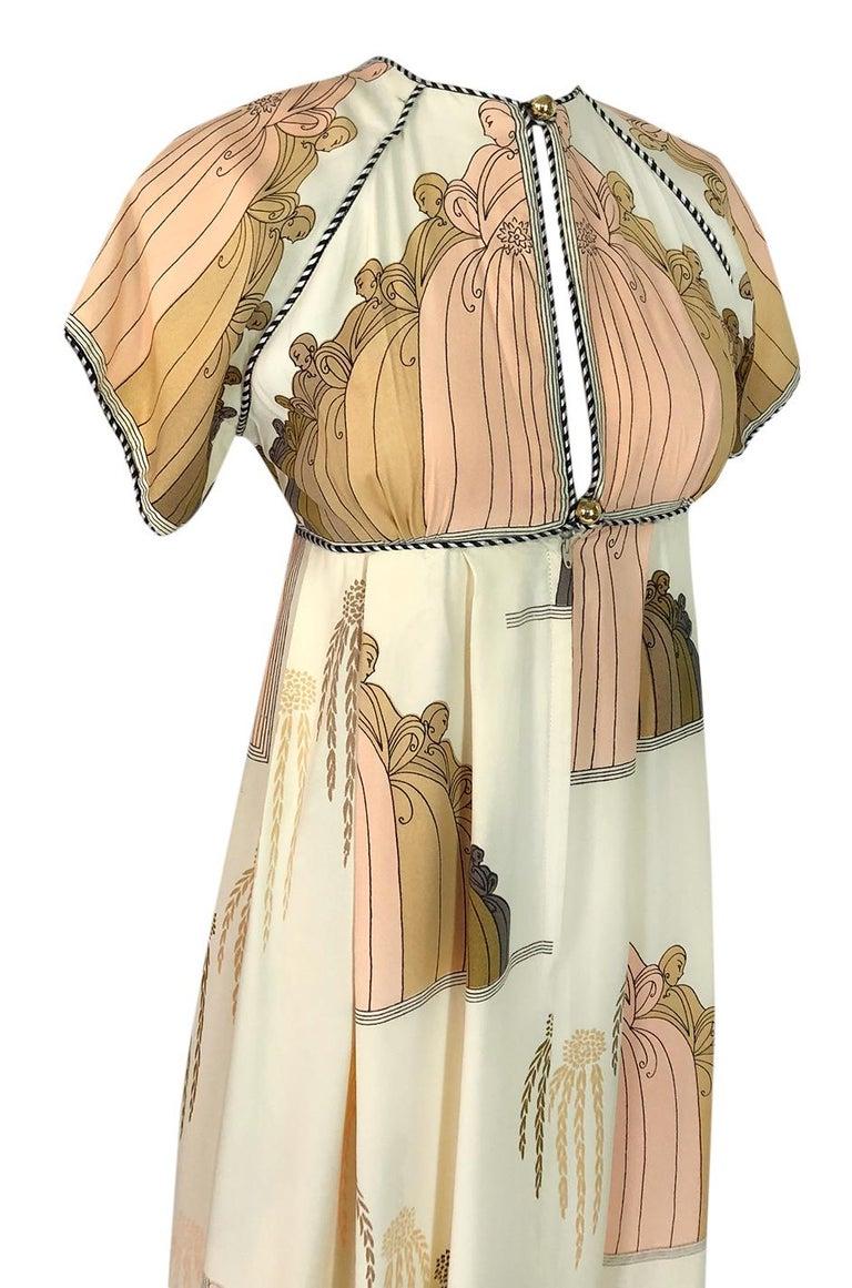 1960s Jean Varon Slit Front Empire Waist Art Deco Print Dress For Sale 3