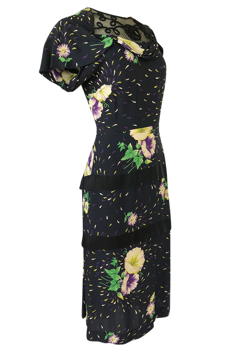 Black 1940s Unlabelled Hand Painted Floral Print Silky Rayon & Net Dress For Sale