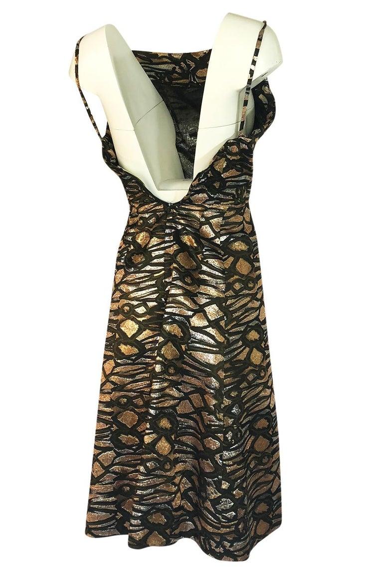 1960s Nina Ricci Metallic Gold Silver Silk Brocade Dress And Jacket