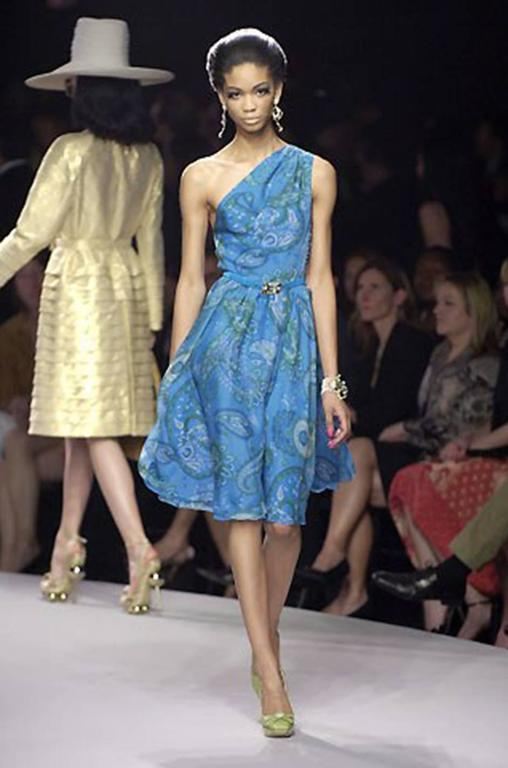 Cruise 2008 Galliano for Christian Dior Blue Silk Dress 8