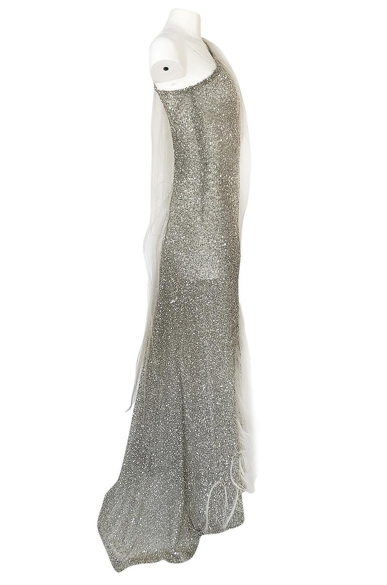 S/S 2000 Jean Louis Scherrer Haute Couture Look 16 Sequin Silver Mesh Dress In Excellent Condition For Sale In Toronto, ON