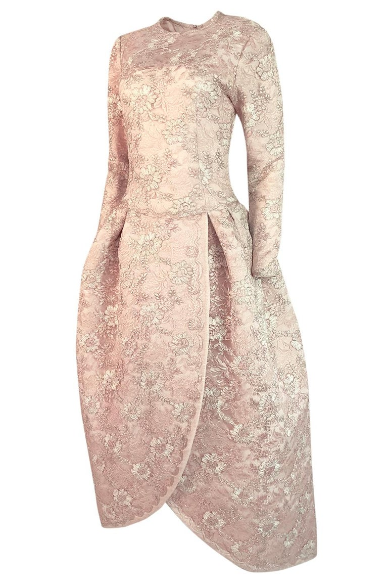 Women's F/W 1994 Nina Ricci Haute Couture Silver Cord & Hand Made Pink Lace Dress For Sale