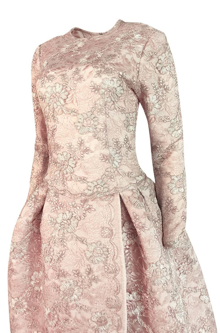 F/W 1994 Nina Ricci Haute Couture Silver Cord & Hand Made Pink Lace Dress For Sale 3