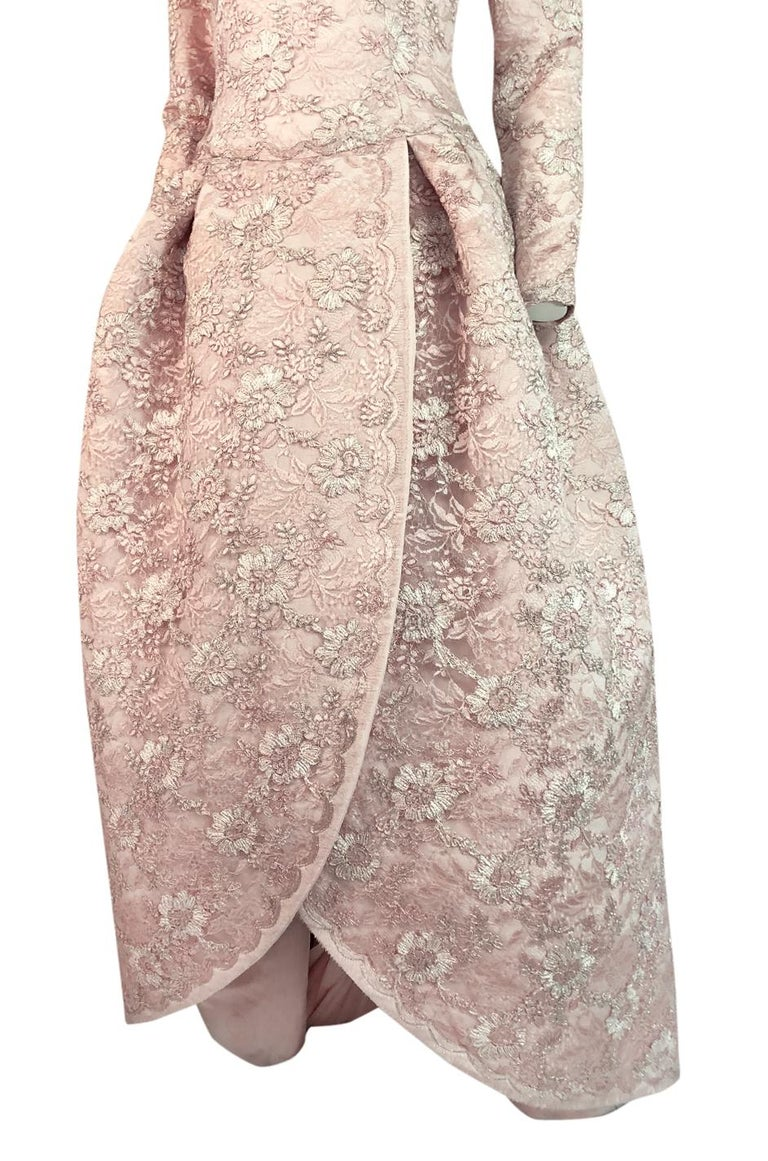 F/W 1994 Nina Ricci Haute Couture Silver Cord & Hand Made Pink Lace Dress For Sale 6