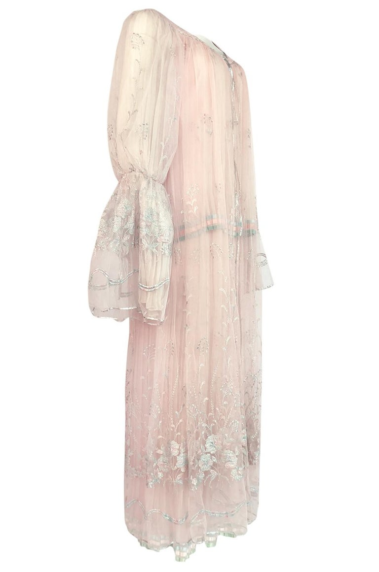 Beige c.1976 Bill Gibb Couture High Fantasy Metallic Embroidered Silk Net Dress Set For Sale