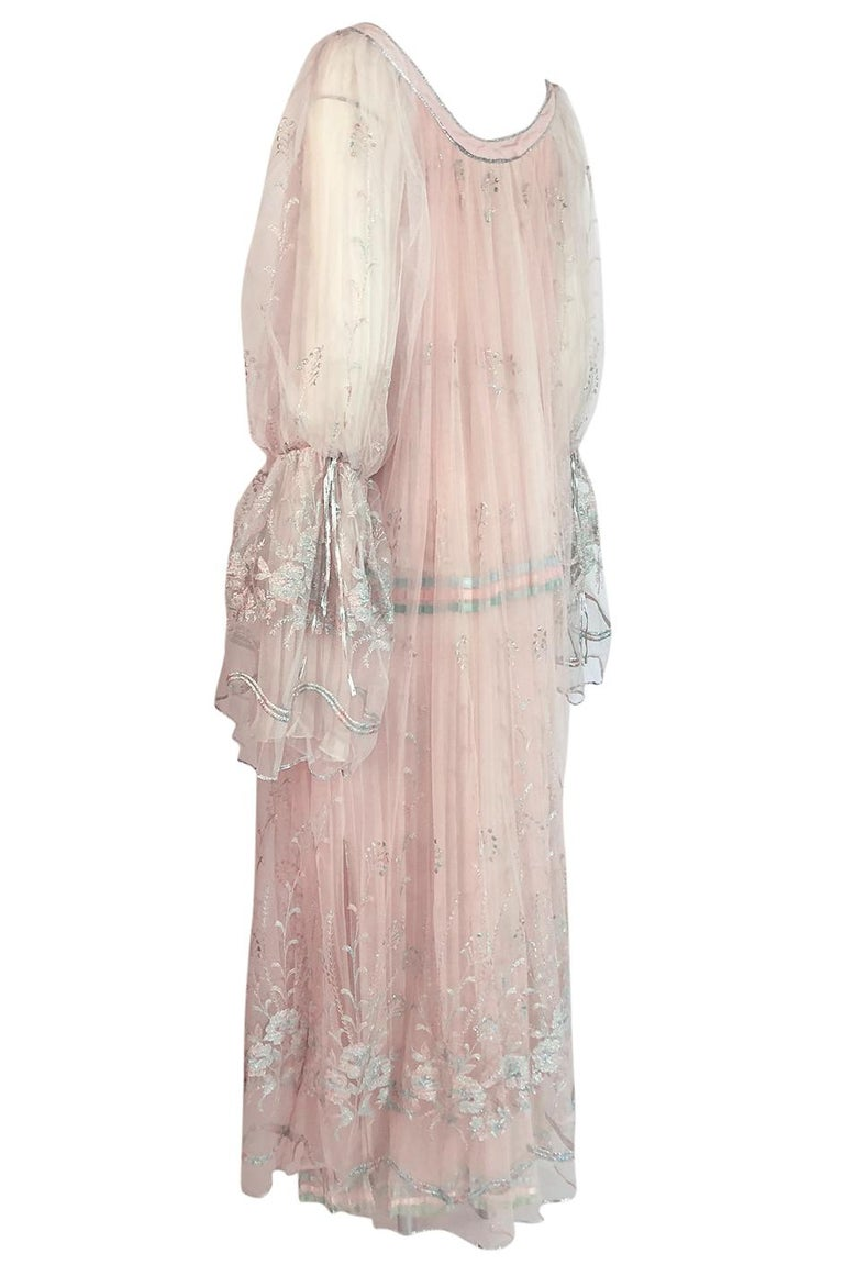 Women's c.1976 Bill Gibb Couture High Fantasy Metallic Embroidered Silk Net Dress Set For Sale