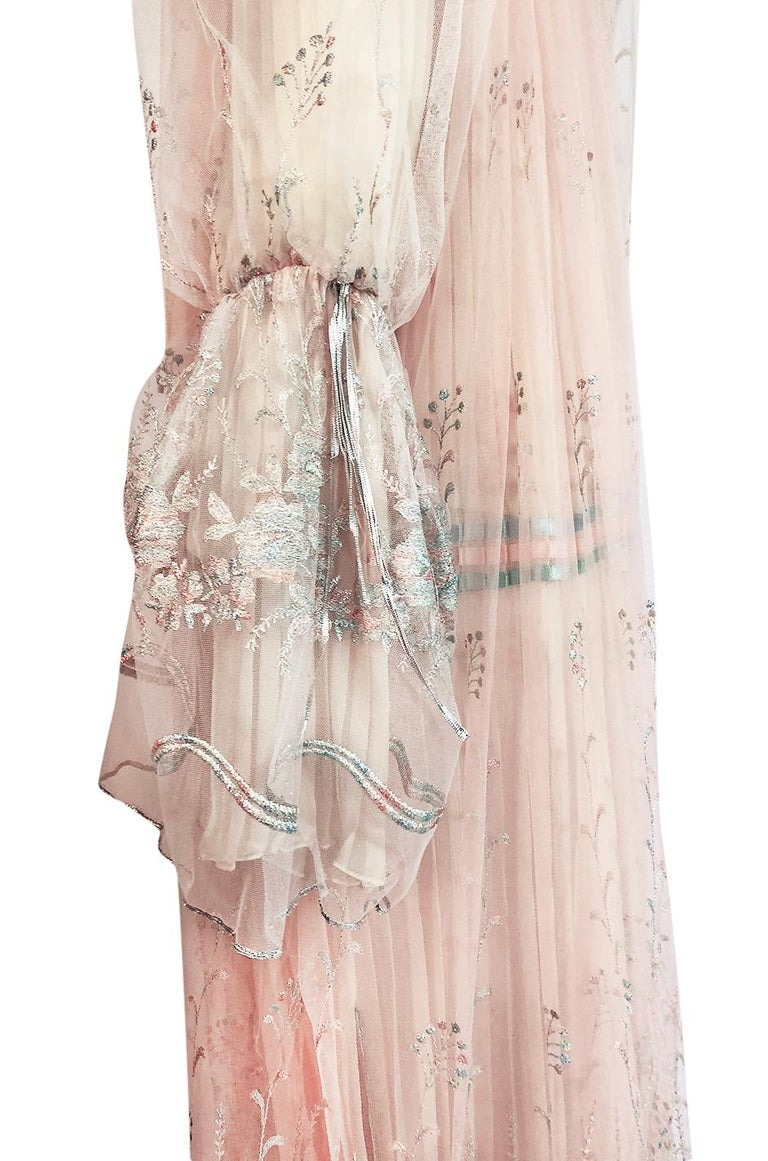 c.1976 Bill Gibb Couture High Fantasy Metallic Embroidered Silk Net Dress Set For Sale 7