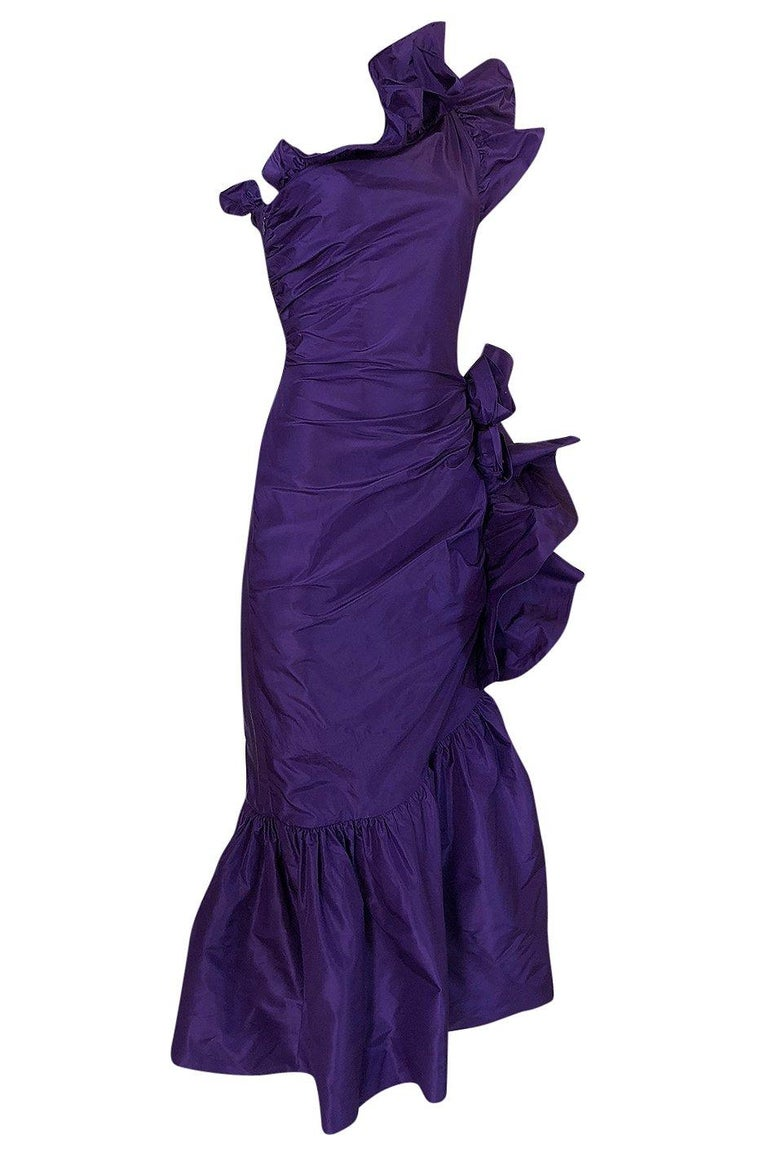 Spring 1982 Unlabeled Givenchy One Shoulder Purple Silk Dress In Excellent Condition For Sale In Toronto, ON