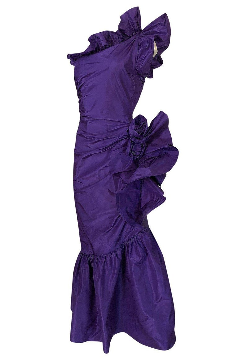 Women's Spring 1982 Unlabeled Givenchy One Shoulder Purple Silk Dress For Sale