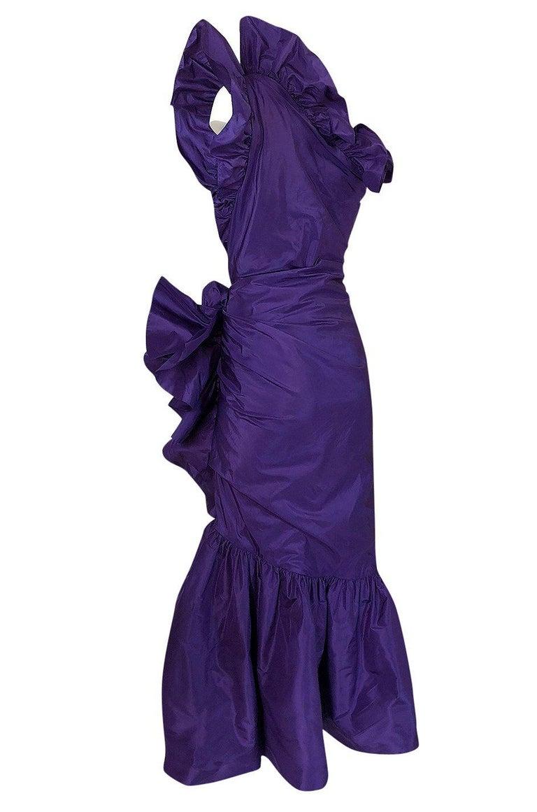 Spring 1982 Unlabeled Givenchy One Shoulder Purple Silk Dress For Sale 1