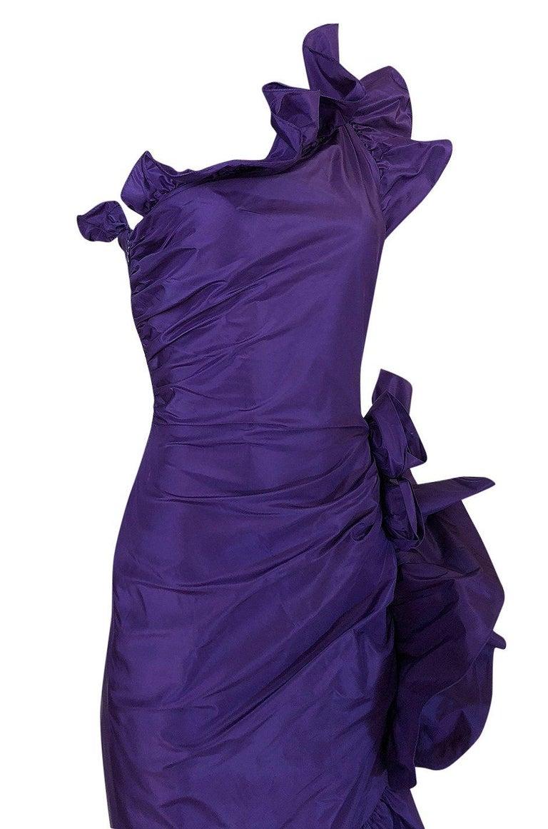 Spring 1982 Unlabeled Givenchy One Shoulder Purple Silk Dress For Sale 2