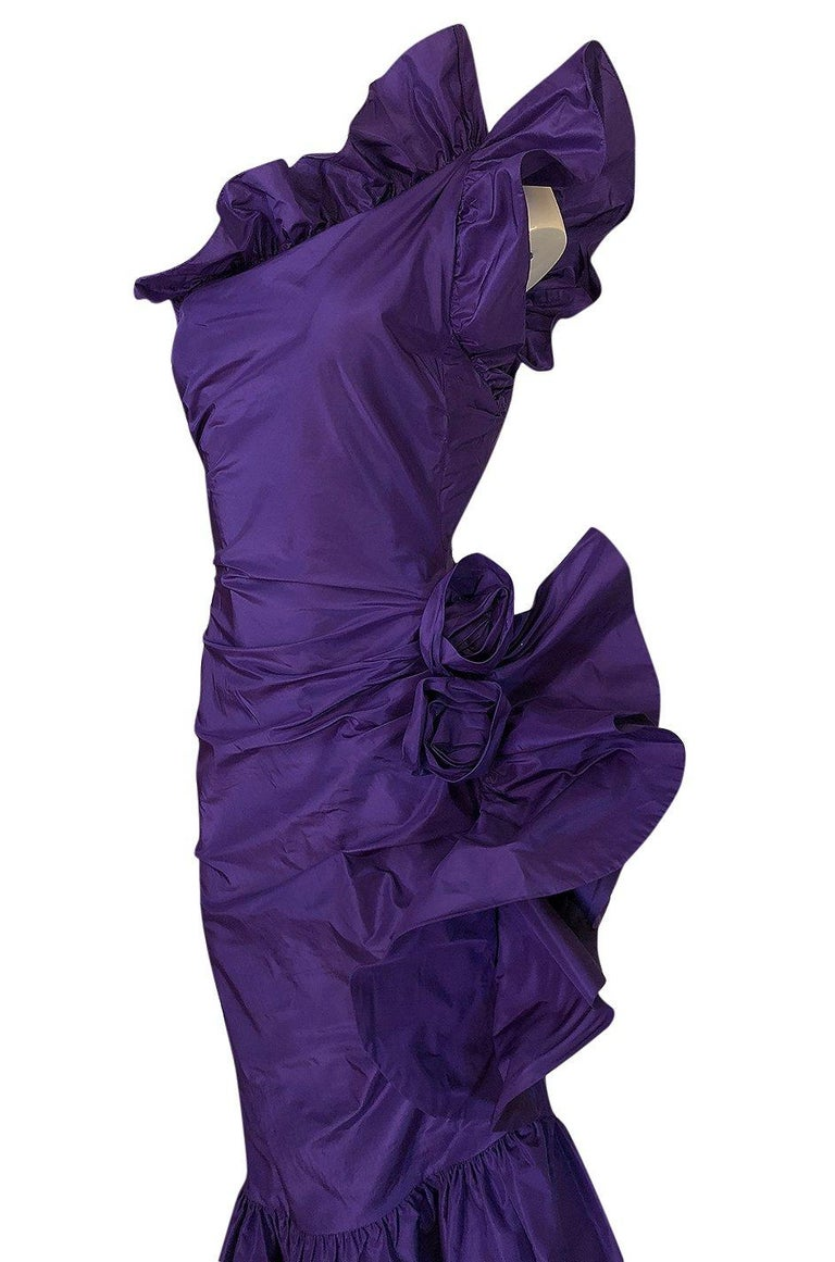 Spring 1982 Unlabeled Givenchy One Shoulder Purple Silk Dress For Sale 3