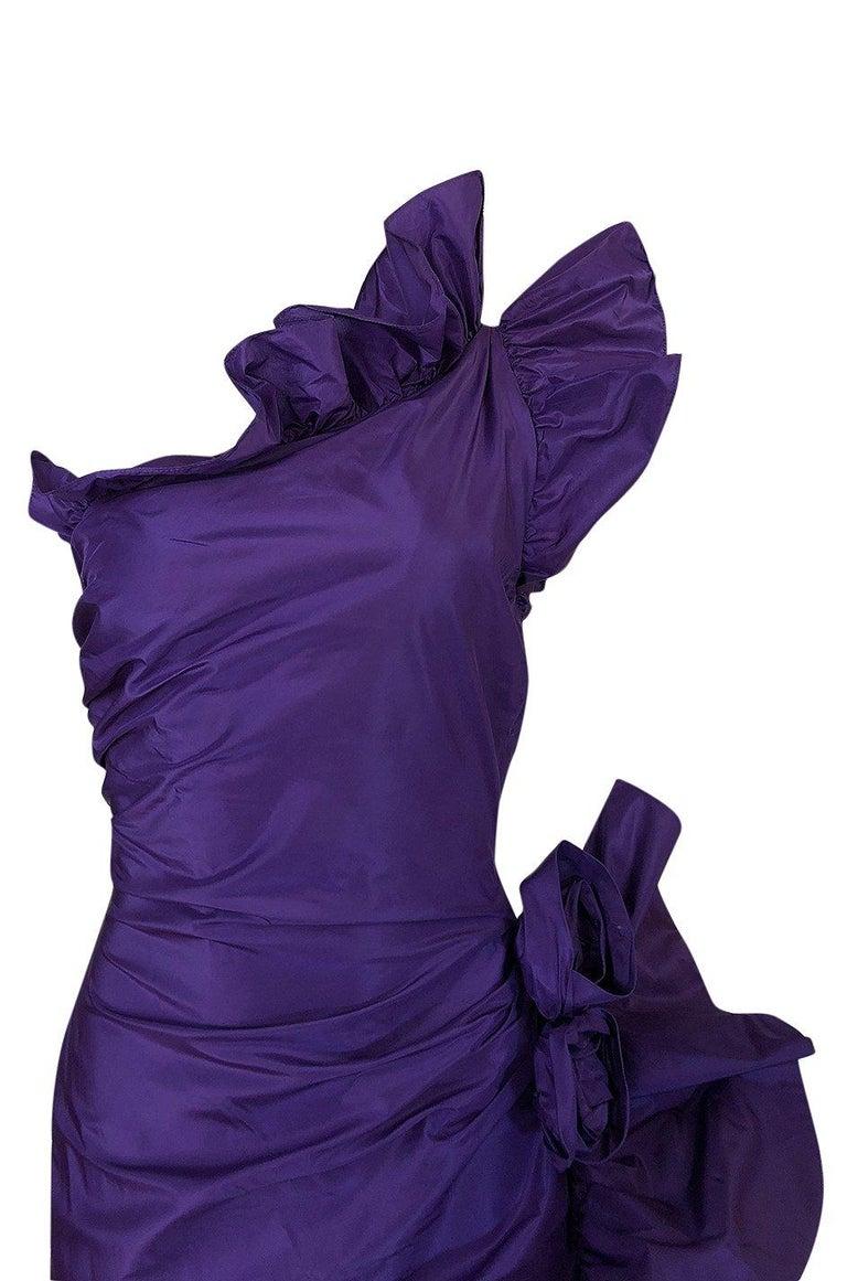 Spring 1982 Unlabeled Givenchy One Shoulder Purple Silk Dress For Sale 4