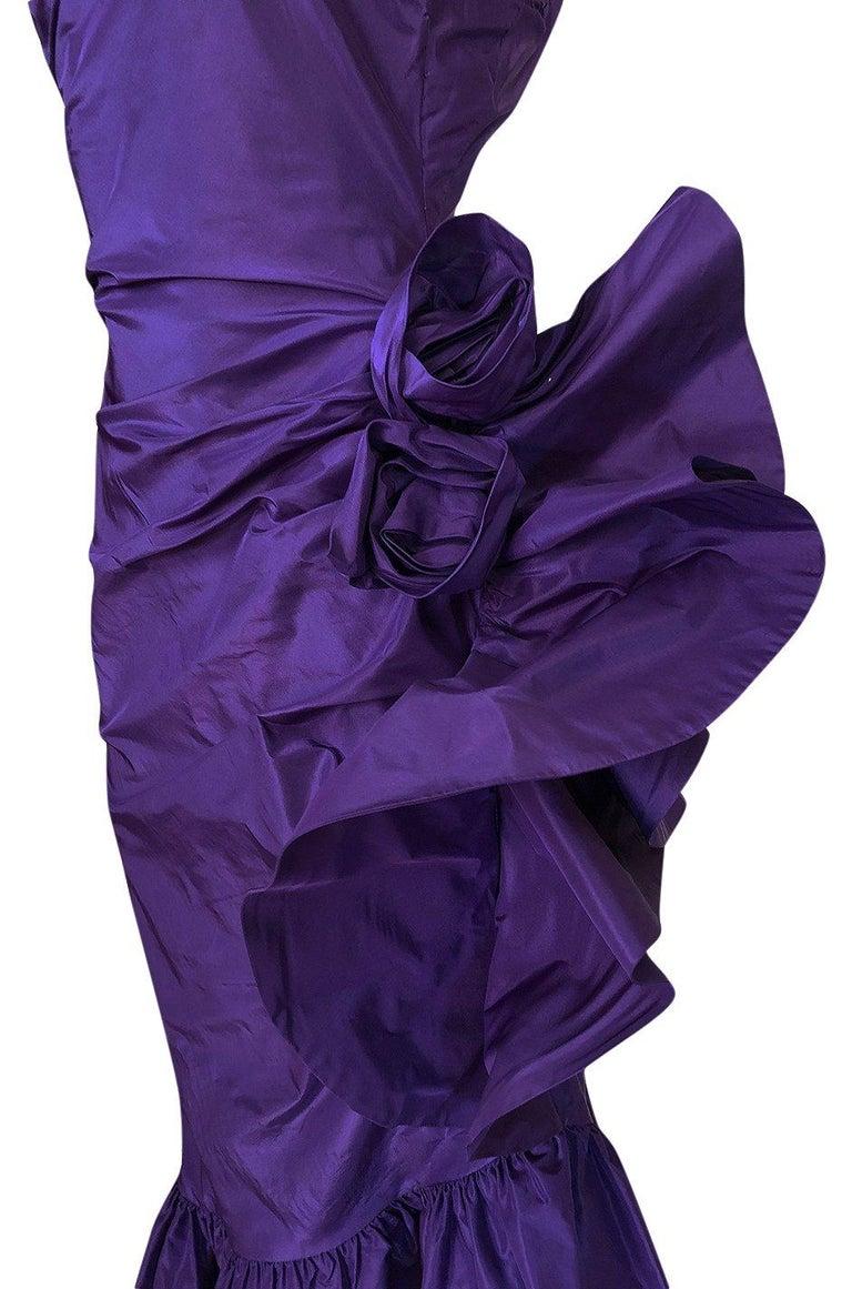 Spring 1982 Unlabeled Givenchy One Shoulder Purple Silk Dress For Sale 5