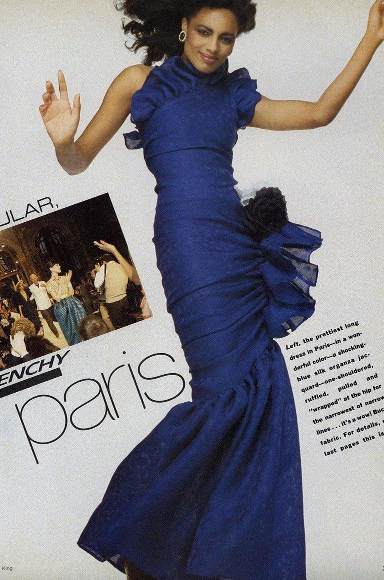 Spring 1982 Unlabeled Givenchy One Shoulder Purple Silk Dress For Sale 6