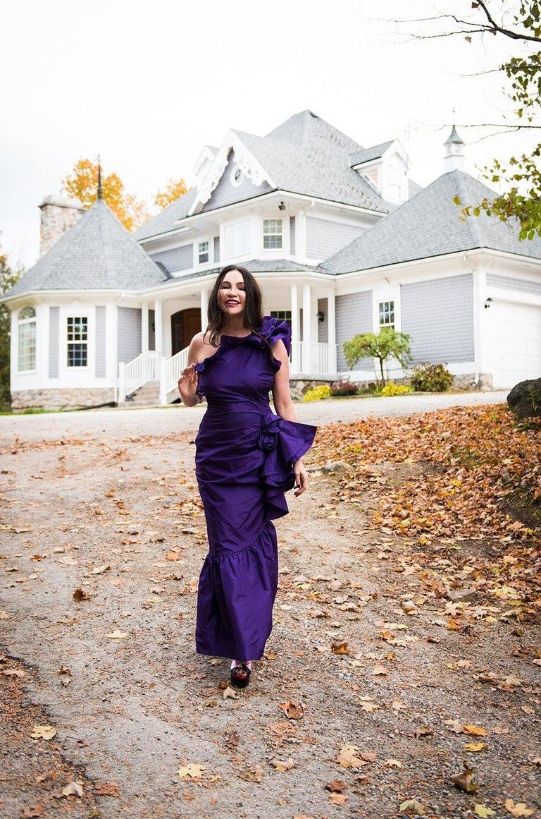 Spring 1982 Unlabeled Givenchy One Shoulder Purple Silk Dress For Sale 11