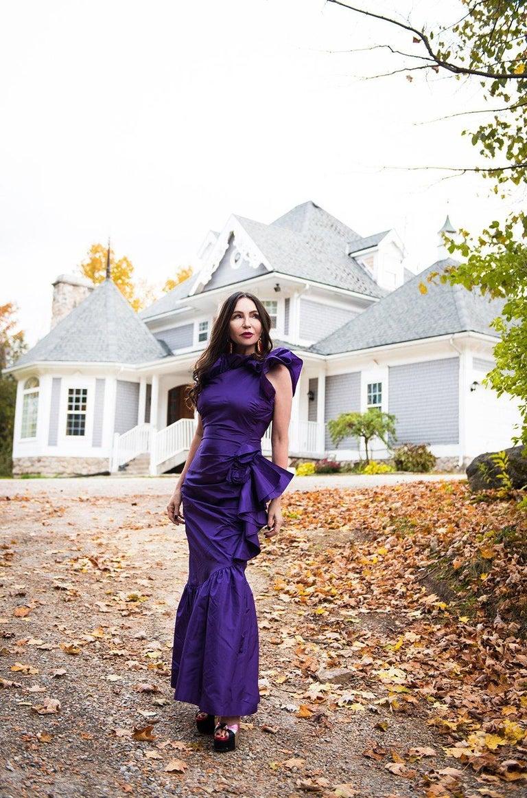 Spring 1982 Unlabeled Givenchy One Shoulder Purple Silk Dress For Sale 12