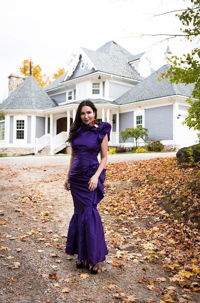 Spring 1982 Unlabeled Givenchy One Shoulder Purple Silk Dress For Sale 13