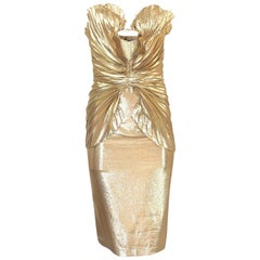 S/S 1985 Thierry Mugler Iconic Pleated Gold Lurex 'Shell' Dress