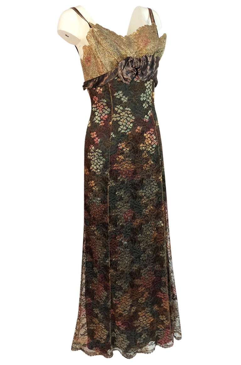 Black F/W 1995 Christian Lacroix Stunning Metallic Gold & Copper Lace Dress For Sale