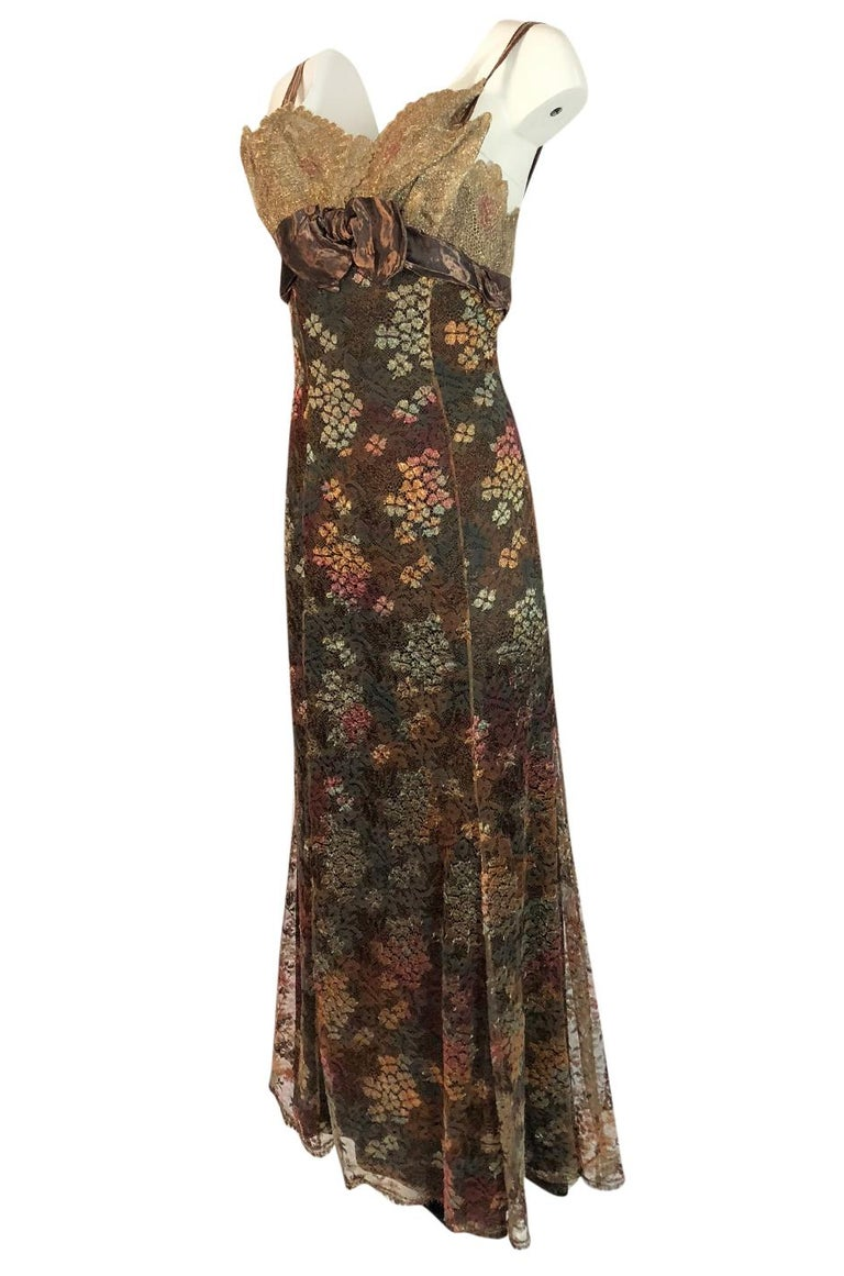 F/W 1995 Christian Lacroix Stunning Metallic Gold & Copper Lace Dress In Excellent Condition For Sale In Rockwood, ON